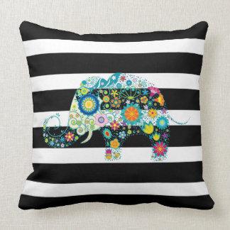 Black & White Stripes & Floral Elephant Throw Pillow