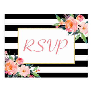 Black White Stripes Floral Gold Wedding RSVP Reply Postcard