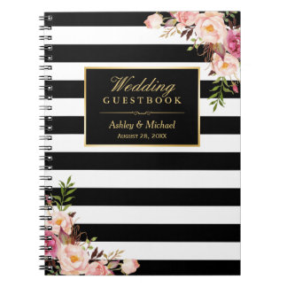 Black White Stripes Floral Wedding Guestbook Spiral Notebook
