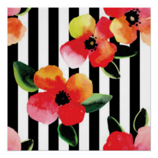 Black White Stripes Flowers Pattern Print Design