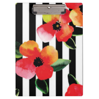 Black White Stripes Flowers Pattern Print Design Clipboard