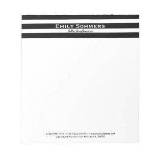 Black & White Stripes Geometric Pattern Notepad