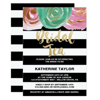 Black White Stripes & Gold Calligraphy Bridal Tea Card