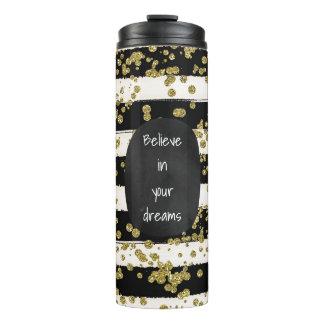 Black White Stripes Gold Confetti Thermal Tumbler