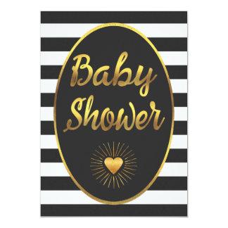 Black White Stripes Gold Foil Baby Shower 13 Cm X 18 Cm Invitation Card