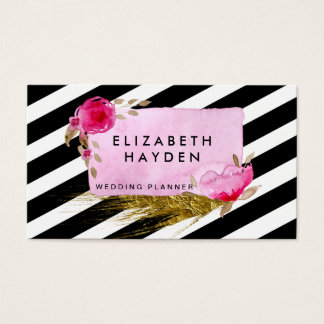 black white stripes gold foil Floral business card