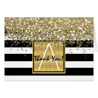 Black & White Stripes Gold Glitter Thank You Card