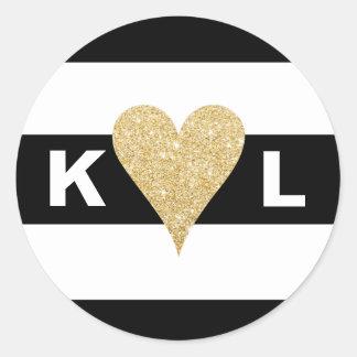 Black White Stripes & Gold Heart Envelope Seals Round Sticker