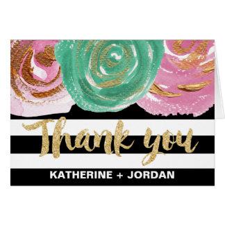 Black White Stripes & Gold Text Wedding Thank You Card