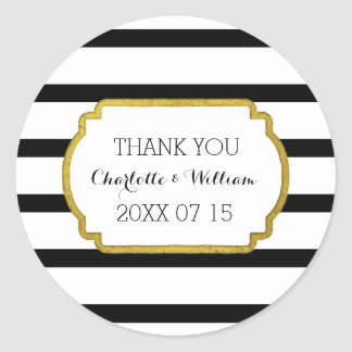 Black White Stripes Gold Wedding Favor Tags Round Sticker