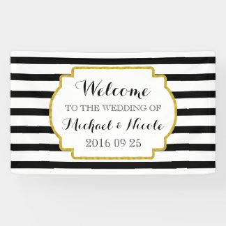 Black White Stripes Gold Wedding Welcome Sign