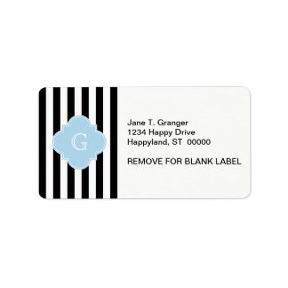 Black White Stripes Light Blue Quatrefoil Monogram Address Label