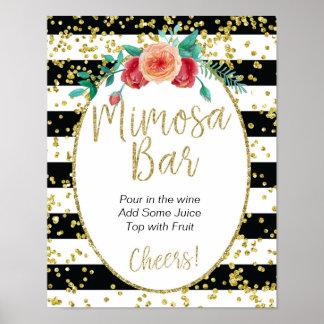 Black & White Stripes Mimosa Bar Sign