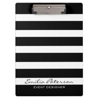 Black & White Stripes Modern Geometric Pattern Clipboard