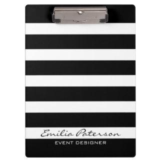 Black & White Stripes Modern Geometric Pattern Clipboards