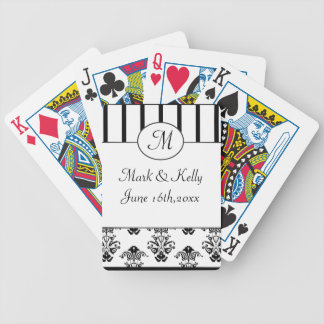 Black & White Stripes, Monogram Baroque Bicycle Playing Cards