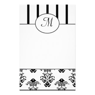 Black & White Stripes, Monogram Baroque Custom Stationery