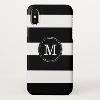 Black & White Stripes Monogram iPhone X Case