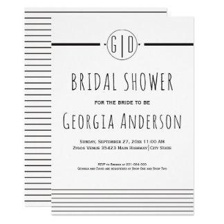 Black white stripes monogram wedding bridal shower card