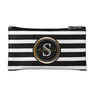 Black White Stripes Monogram Wedding Bridesmaid Makeup Bag