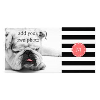 Black White Stripes Pattern, Coral Monogram Photo Card Template