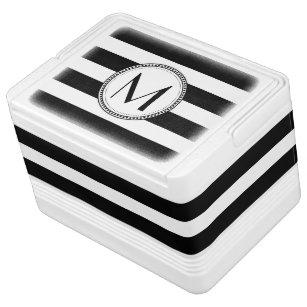 Black   White Stripes Pattern Monogram Cooler