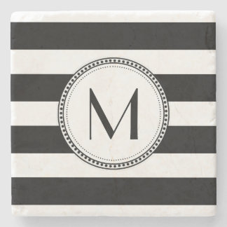 Black | White Stripes Pattern Monogram Stone Coaster