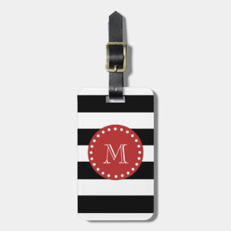 Black White Stripes Pattern, Red Monogram Bag Tags