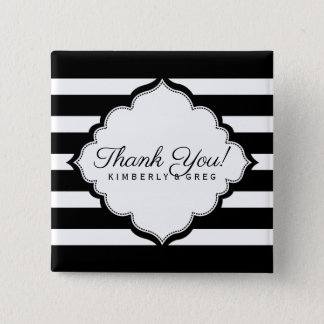 Black & White Stripes Pattern- Thank You 15 Cm Square Badge