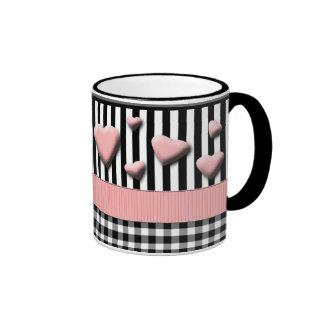 Black White Stripes Pink Hearts Ringer Coffee Mug