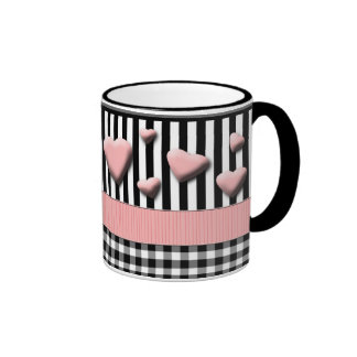 Black White Stripes Pink Hearts Ringer Mug