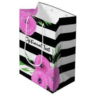 Black White Stripes Pink Ranunculus Floral Medium Gift Bag