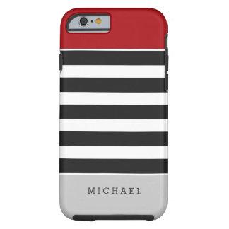 Black White Stripes Red Gray Monogram Name Tough iPhone 6 Case