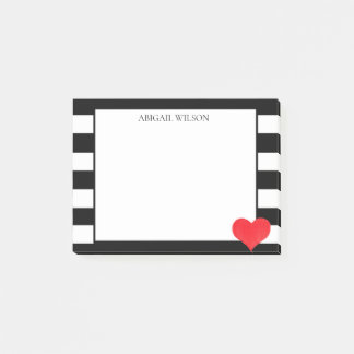 Black & White Stripes Red Heart Personalised Post-it Notes