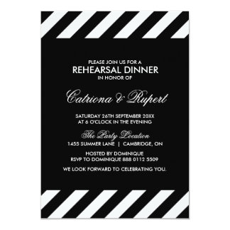 Black & White Stripes Rehearsal Dinner Invitation