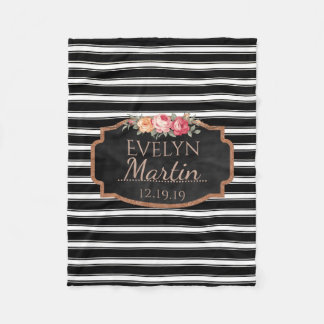 Black White Stripes Rose Gold | Monogrammed Floral Fleece Blanket