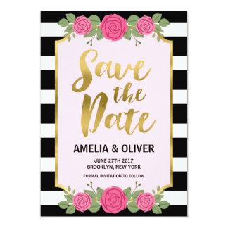Black White Stripes Roses Wedding Save the Date 13 Cm X 18 Cm Invitation Card