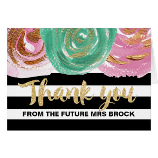 Black White Stripes Thank You From the Future Mrs Card
