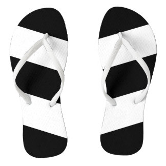 Black White Stripes Thongs