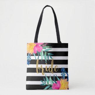 Black & White Stripes Tropical Flowers Bouquet Tote Bag