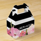 Black White Stripes Watercolor Floral Wedding Favour Box