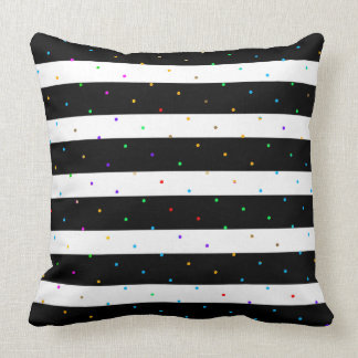 Black & White Stripes With Colourful Dots Pattern Throw Pillow