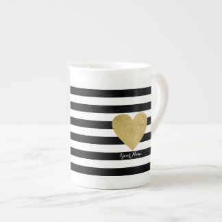 Black & White Stripes with Gold Foil Heart Tea Cup