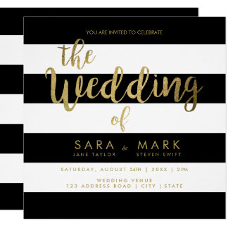 Black & White Stripes with Gold Foil Typography Card