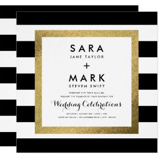 Black & White Stripes with Gold Foil Wedding 13 Cm X 13 Cm Square Invitation Card