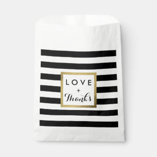 Black & White Stripes with Gold Foil Wedding Favour Bag
