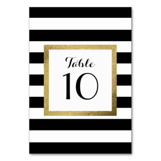 Black & White Stripes with Gold Foil Wedding Table Card
