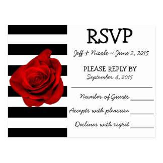 Black & White Stripes with Red Rose Wedding RSVP Postcard