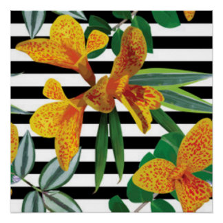 Black White Stripes Yellow Flowers pattern Design