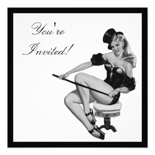 Black & White Style Pin-Up Girl 5 Personalized Announcement